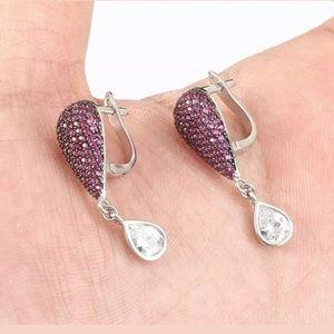 Ruby & topaz teardrop earrings
